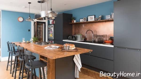 آشپزخانه کلاسیک با رنگ مسی