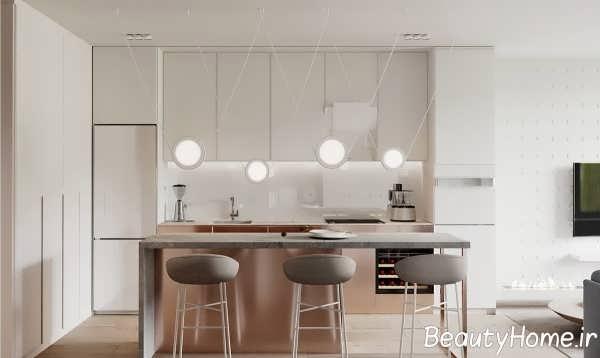 دیزاین مدرن آشپزخانه با تم مسی