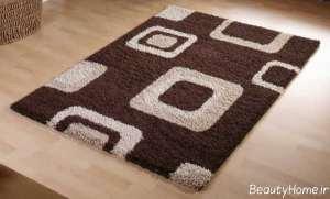فرش کرم و قهوه ای برای اتاق خواب