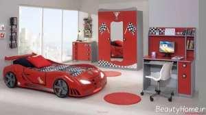 دکوراسیون قرمز اتاق خواب پسرانه