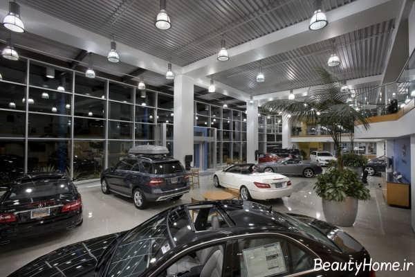 نورپردازی زیبا و مدرن نمایشگاه ماشین