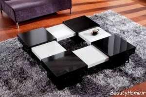 مدل میز پذیرایی سفید و مشکی