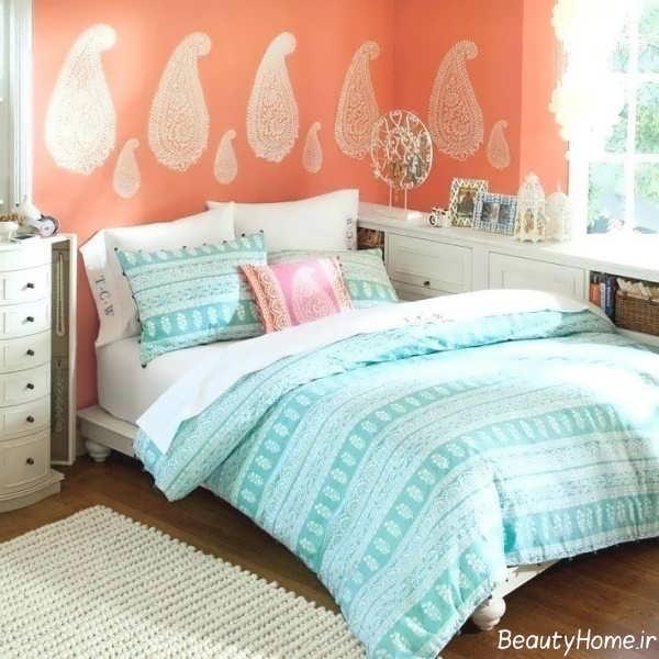 دکوراسیون رنگی اتاق خواب دو نفره