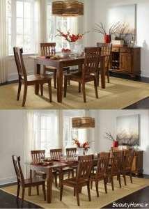 میز غذاخوری چوبی و شیک