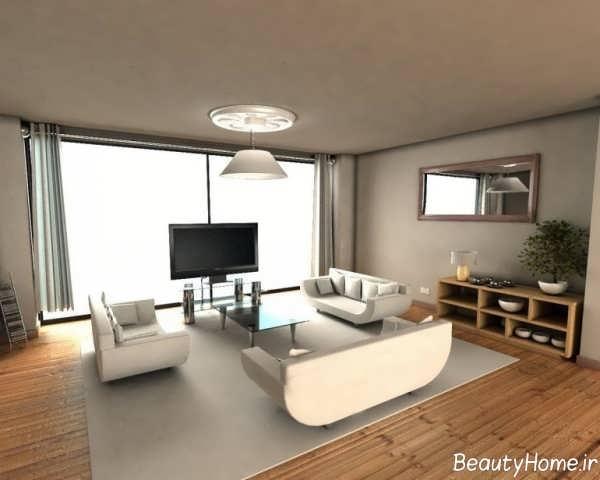 طراحی داخلی سفید و نسکافه ای