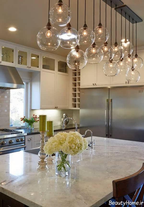 نورپردازی زیبا و شیک آشپزخانه