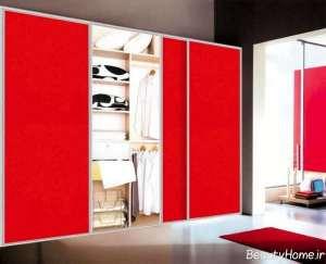 کمد دیواری کشویی قرمز