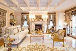 سالن پذیرایی سفید و طلایی