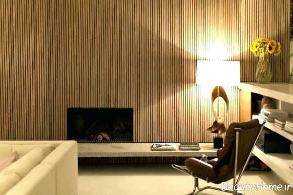 کاغذ دیواری طرح چوب سالن پذیرایی