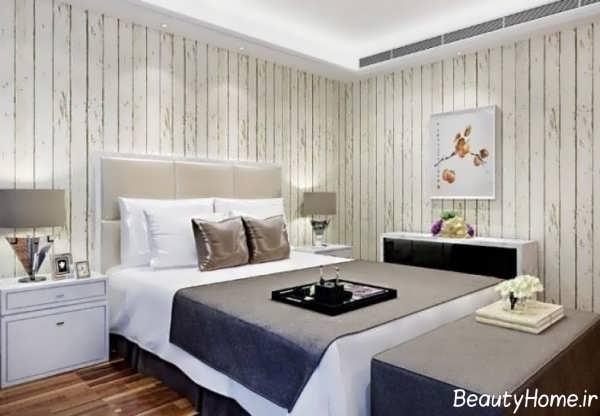 کاغذ دیواری رنگ روشن برای اتاق خواب