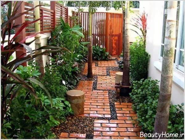طراحی راهرو باغ با آجر