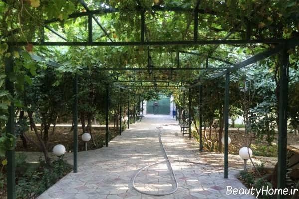 دیزاین ساده راهرو باغ
