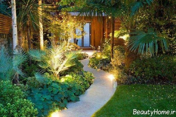 نورپردازی شیک راهروی باغ