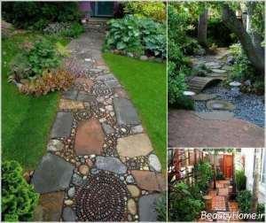 طراحی راهروی باغ با سنگفرش