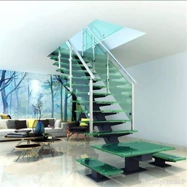 راه پله زیبا و شیشه ای