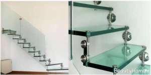 مدل راه پله شیشه ای ساده