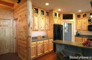 طراحی داخلی آشپزخانه با چوب