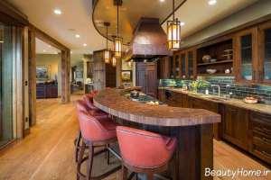 دکوراسیون زیبا و چوبی اشپزخانه
