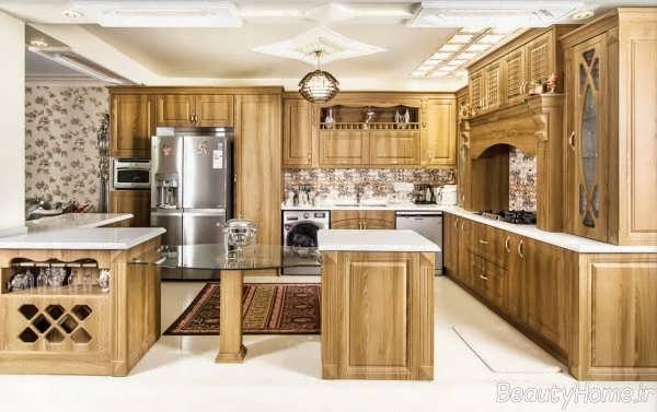 طراحی داخلی آشپزخانه چوبی