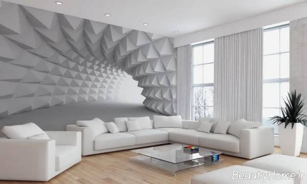 کاغذ دیواری سه بعدی خاکستری