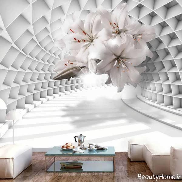 کاغذ دیواری گلدار سه بعدی