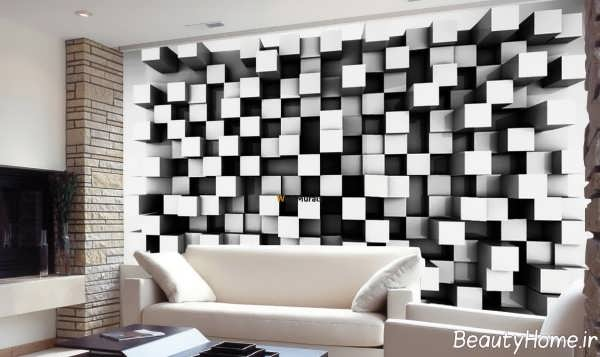 طرح کاغذ دیواری مشکی و سفید