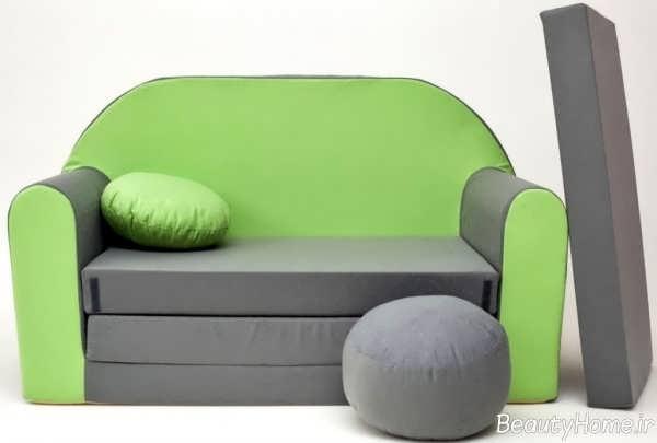 مبلمان خاکستری و سبز
