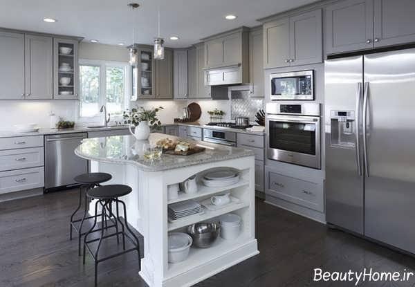 دکوراسیون خاکستری آشپزخانه