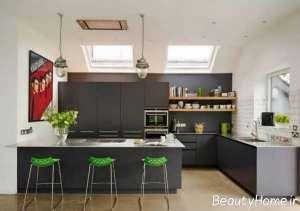 دکوراسیون مدرن آشپزخانه طوسی