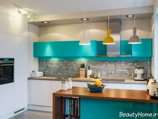 طراحی دکوراسیون آشپزخانه رنگی