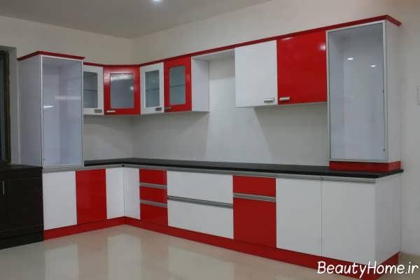 دکوراسیون سفید و قرمز آشپزخانه