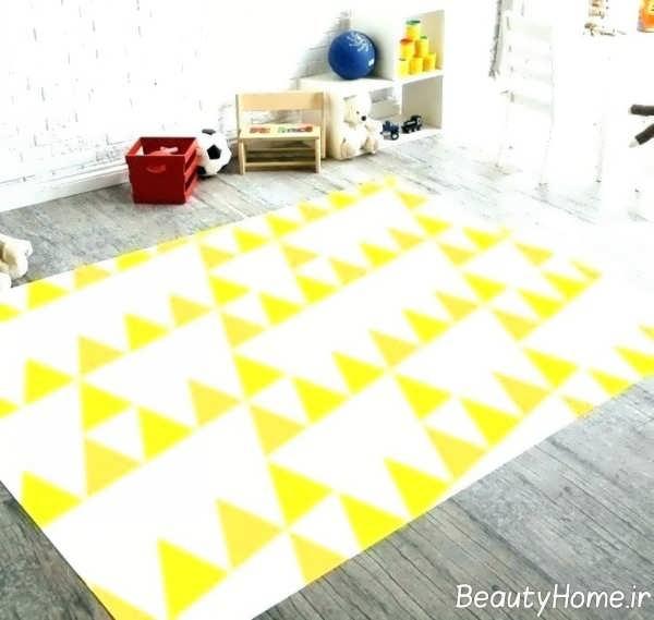 قالیچه زرد و سفید