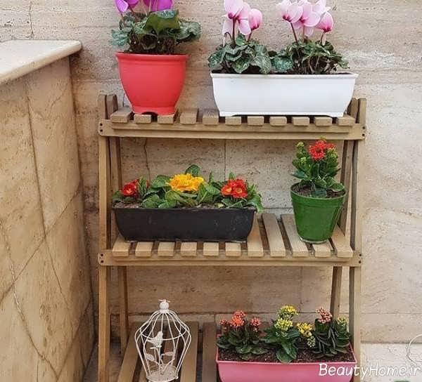 چهارپایه چوبی مخصوص گلدان