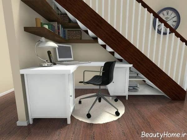 طراحی اتاق کار زیر راه پله