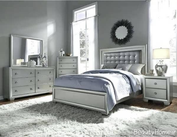 طراحی اتاق خواب نقره ای