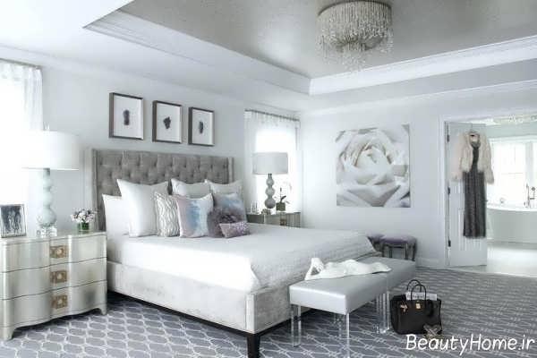 دکوراسیون اتاق خواب سفید و نقره ای