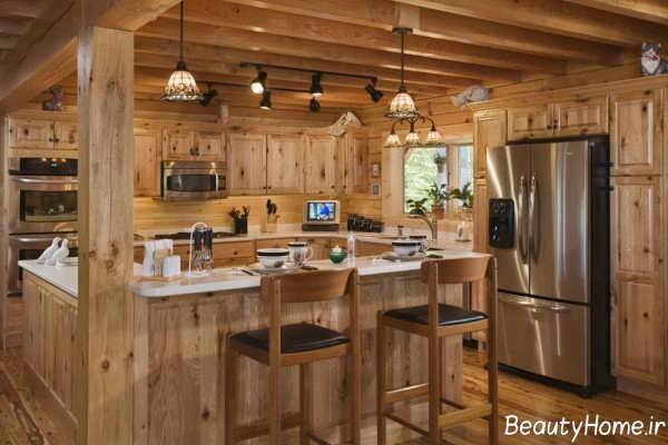 دکوراسیون آشپزخانه کلاسیک و چوبی