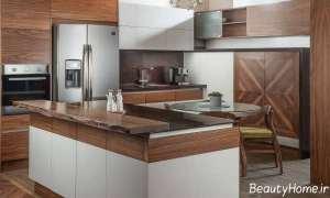 دکوراسیون چوبی و شیک آشپزخانه