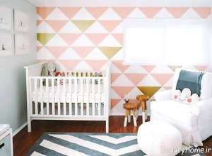دکوراسیون صورتی و سفید اتاق نوزاد