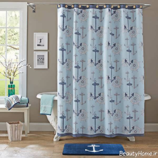 پرده زیبا و طرح دار برای حمام
