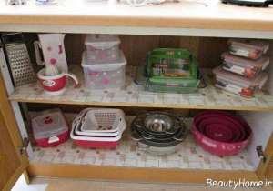 چیدمان ظروف در فضای کابینت