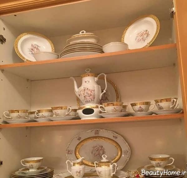 تزئین کابینت با ظروف چینی