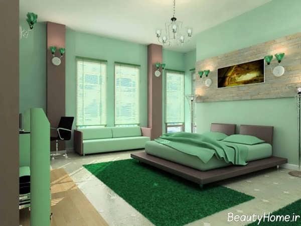 دکوراسیون اتاق خواب سبز و شیک