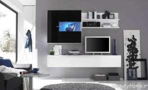 میز تلویزیون دیواری سفید و مشکی