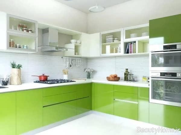 مدل کابینت سفید و سبز