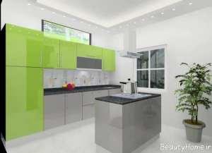 کابینت سبز و خاکستری