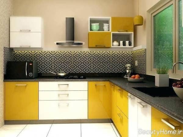 مدل کابینت زرد و سفید