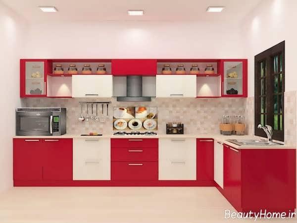 کابینت دو رنگ قرمز و سفید
