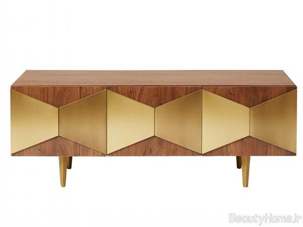 میز تلویزیون طلایی و قهوه ای