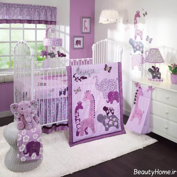 دکوراسیون بنفش اتاق نوزاد